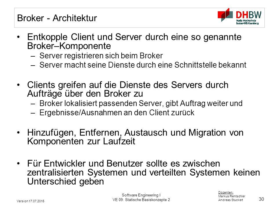 30 Dozenten: Markus Rentschler Andreas Stuckert Version 17.07.2015 Software Engineering I VE 09: Statische Basiskonzepte 2 Broker - Architektur Entkop