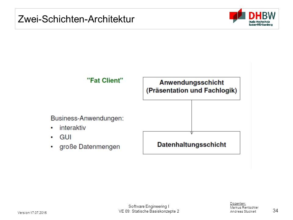 34 Dozenten: Markus Rentschler Andreas Stuckert Version 17.07.2015 Software Engineering I VE 09: Statische Basiskonzepte 2 Zwei-Schichten-Architektur