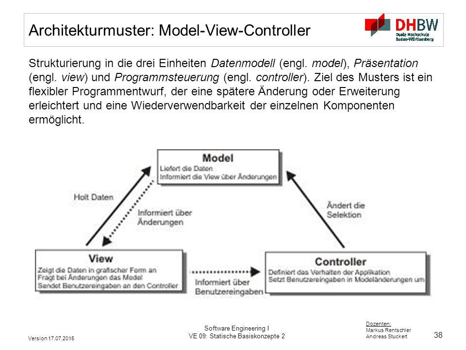 38 Dozenten: Markus Rentschler Andreas Stuckert Version 17.07.2015 Software Engineering I VE 09: Statische Basiskonzepte 2 Architekturmuster: Model-Vi