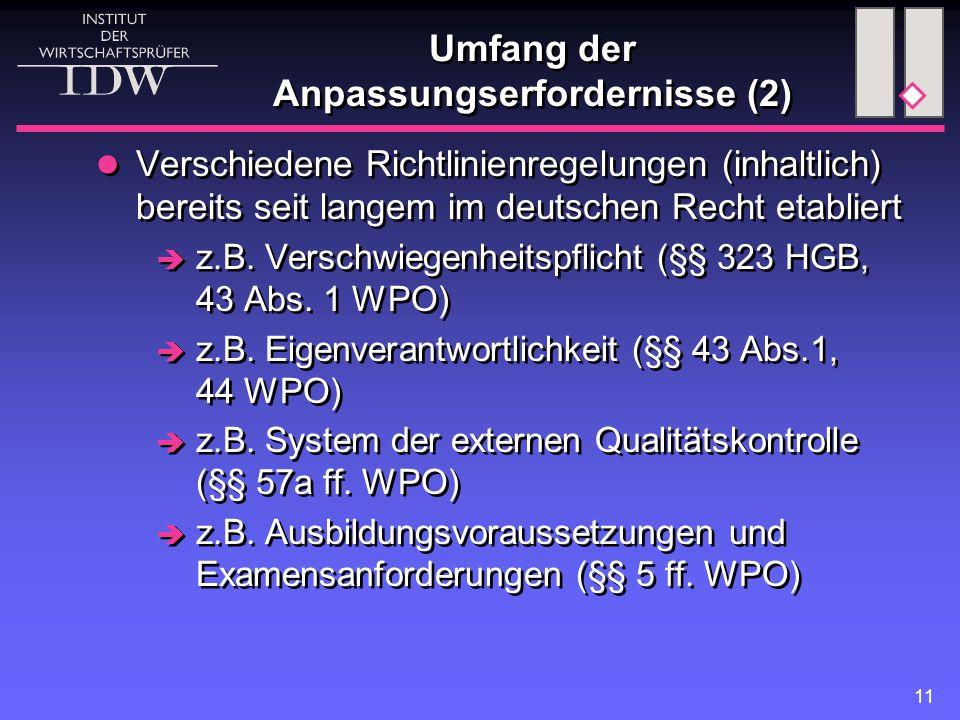 11 Umfang der Anpassungserfordernisse (2) Verschiedene Richtlinienregelungen (inhaltlich) bereits seit langem im deutschen Recht etabliert  z.B.