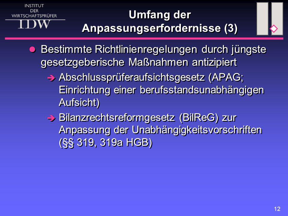 12 Umfang der Anpassungserfordernisse (3) Bestimmte Richtlinienregelungen durch jüngste gesetzgeberische Maßnahmen antizipiert  Abschlussprüferaufsichtsgesetz (APAG; Einrichtung einer berufsstandsunabhängigen Aufsicht)  Bilanzrechtsreformgesetz (BilReG) zur Anpassung der Unabhängigkeitsvorschriften (§§ 319, 319a HGB) Bestimmte Richtlinienregelungen durch jüngste gesetzgeberische Maßnahmen antizipiert  Abschlussprüferaufsichtsgesetz (APAG; Einrichtung einer berufsstandsunabhängigen Aufsicht)  Bilanzrechtsreformgesetz (BilReG) zur Anpassung der Unabhängigkeitsvorschriften (§§ 319, 319a HGB)