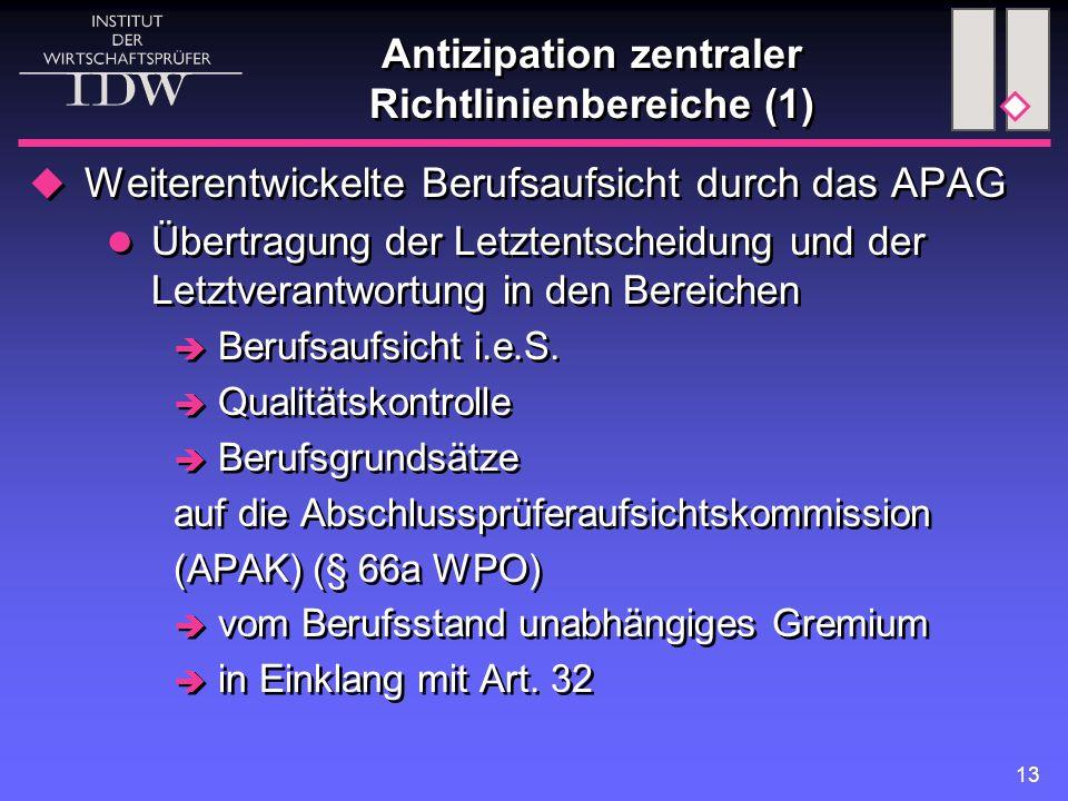13 Antizipation zentraler Richtlinienbereiche (1)  Weiterentwickelte Berufsaufsicht durch das APAG Übertragung der Letztentscheidung und der Letztverantwortung in den Bereichen  Berufsaufsicht i.e.S.