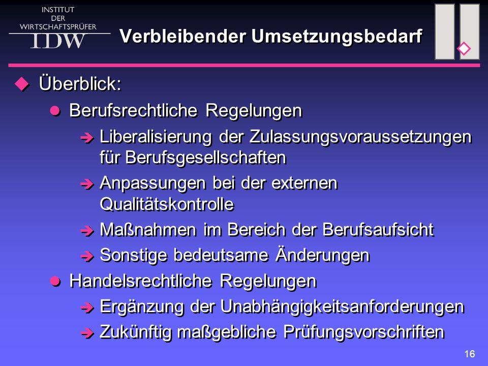 16 Verbleibender Umsetzungsbedarf  Überblick: Berufsrechtliche Regelungen  Liberalisierung der Zulassungsvoraussetzungen für Berufsgesellschaften  Anpassungen bei der externen Qualitätskontrolle  Maßnahmen im Bereich der Berufsaufsicht  Sonstige bedeutsame Änderungen Handelsrechtliche Regelungen  Ergänzung der Unabhängigkeitsanforderungen  Zukünftig maßgebliche Prüfungsvorschriften  Überblick: Berufsrechtliche Regelungen  Liberalisierung der Zulassungsvoraussetzungen für Berufsgesellschaften  Anpassungen bei der externen Qualitätskontrolle  Maßnahmen im Bereich der Berufsaufsicht  Sonstige bedeutsame Änderungen Handelsrechtliche Regelungen  Ergänzung der Unabhängigkeitsanforderungen  Zukünftig maßgebliche Prüfungsvorschriften