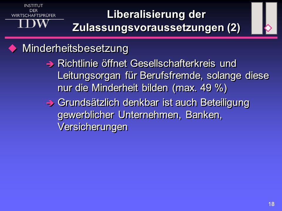 18 Liberalisierung der Zulassungsvoraussetzungen (2)  Minderheitsbesetzung  Richtlinie öffnet Gesellschafterkreis und Leitungsorgan für Berufsfremde, solange diese nur die Minderheit bilden (max.