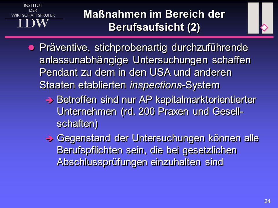 24 Maßnahmen im Bereich der Berufsaufsicht (2) Präventive, stichprobenartig durchzuführende anlassunabhängige Untersuchungen schaffen Pendant zu dem in den USA und anderen Staaten etablierten inspections-System  Betroffen sind nur AP kapitalmarktorientierter Unternehmen (rd.