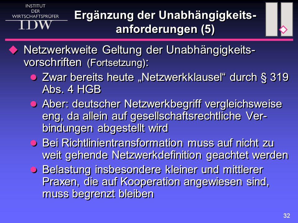 """32 Ergänzung der Unabhängigkeits- anforderungen (5)  Netzwerkweite Geltung der Unabhängigkeits- vorschriften (Fortsetzung) : Zwar bereits heute """"Netzwerkklausel durch § 319 Abs."""