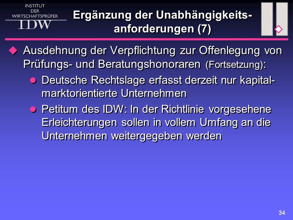 34 Ergänzung der Unabhängigkeits- anforderungen (7)  Ausdehnung der Verpflichtung zur Offenlegung von Prüfungs- und Beratungshonoraren (Fortsetzung) : Deutsche Rechtslage erfasst derzeit nur kapital- marktorientierte Unternehmen Petitum des IDW: In der Richtlinie vorgesehene Erleichterungen sollen in vollem Umfang an die Unternehmen weitergegeben werden  Ausdehnung der Verpflichtung zur Offenlegung von Prüfungs- und Beratungshonoraren (Fortsetzung) : Deutsche Rechtslage erfasst derzeit nur kapital- marktorientierte Unternehmen Petitum des IDW: In der Richtlinie vorgesehene Erleichterungen sollen in vollem Umfang an die Unternehmen weitergegeben werden