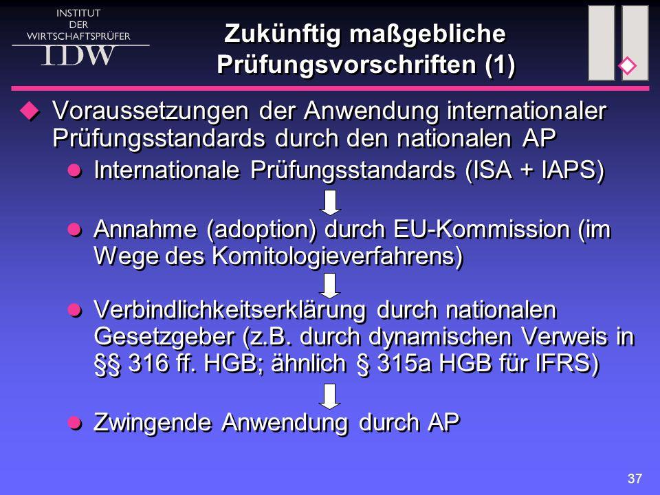 37 Zukünftig maßgebliche Prüfungsvorschriften (1)  Voraussetzungen der Anwendung internationaler Prüfungsstandards durch den nationalen AP Internationale Prüfungsstandards (ISA + IAPS) Annahme (adoption) durch EU-Kommission (im Wege des Komitologieverfahrens) Verbindlichkeitserklärung durch nationalen Gesetzgeber (z.B.