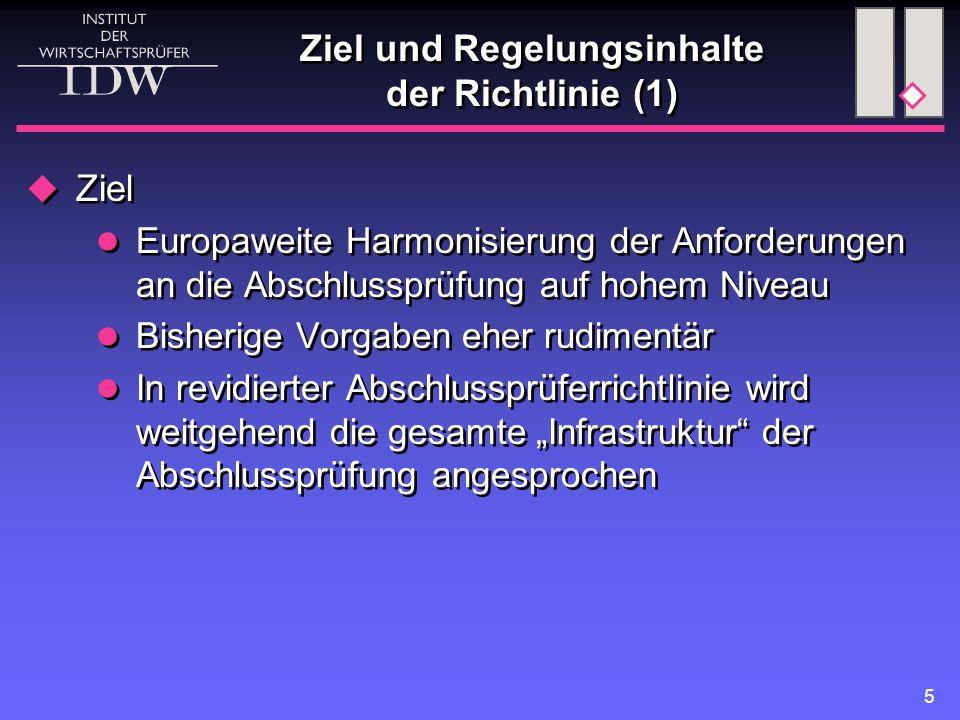 """5 Ziel und Regelungsinhalte der Richtlinie (1)  Ziel Europaweite Harmonisierung der Anforderungen an die Abschlussprüfung auf hohem Niveau Bisherige Vorgaben eher rudimentär In revidierter Abschlussprüferrichtlinie wird weitgehend die gesamte """"Infrastruktur der Abschlussprüfung angesprochen  Ziel Europaweite Harmonisierung der Anforderungen an die Abschlussprüfung auf hohem Niveau Bisherige Vorgaben eher rudimentär In revidierter Abschlussprüferrichtlinie wird weitgehend die gesamte """"Infrastruktur der Abschlussprüfung angesprochen"""
