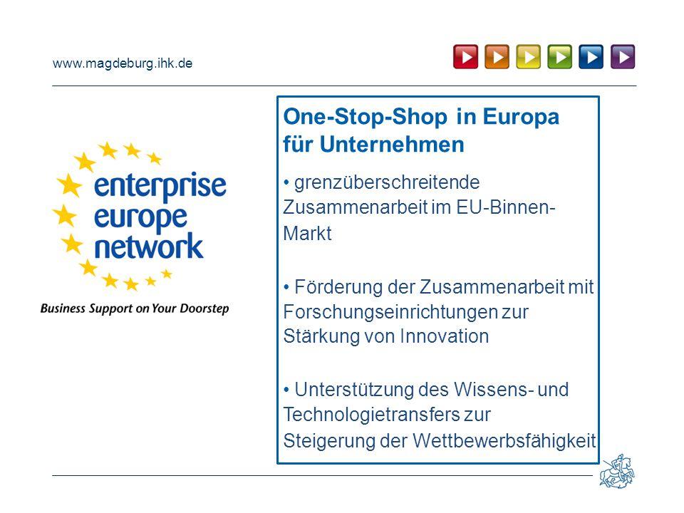 www.magdeburg.ihk.de grenzüberschreitende Zusammenarbeit im EU-Binnen- Markt Förderung der Zusammenarbeit mit Forschungseinrichtungen zur Stärkung von Innovation Unterstützung des Wissens- und Technologietransfers zur Steigerung der Wettbewerbsfähigkeit One-Stop-Shop in Europa für Unternehmen