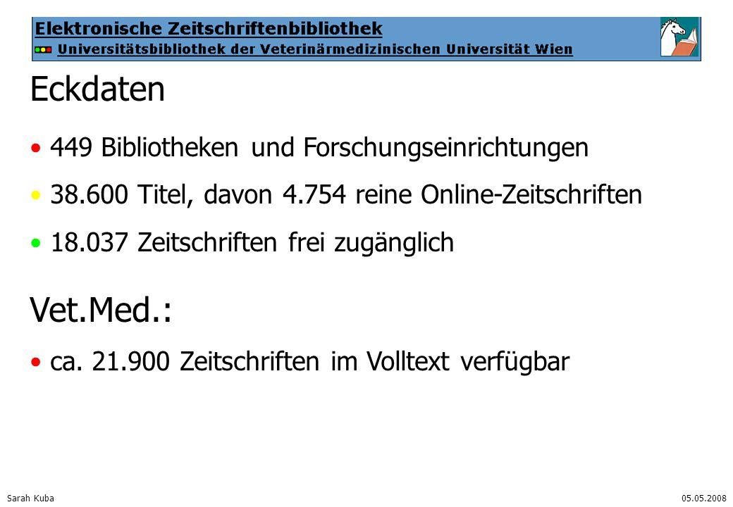 Sarah Kuba05.05.2008 Eckdaten 449 Bibliotheken und Forschungseinrichtungen 38.600 Titel, davon 4.754 reine Online-Zeitschriften 18.037 Zeitschriften frei zugänglich Vet.Med.: ca.