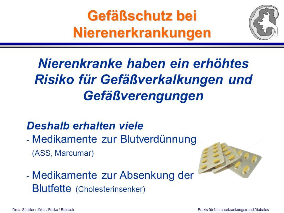 Dres. Gäckler / Jäkel / Fricke / Reinsch Praxis für Nierenerkrankungen und Diabetes Gefäßschutz bei Nierenerkrankungen Nierenkranke haben ein erhöhtes