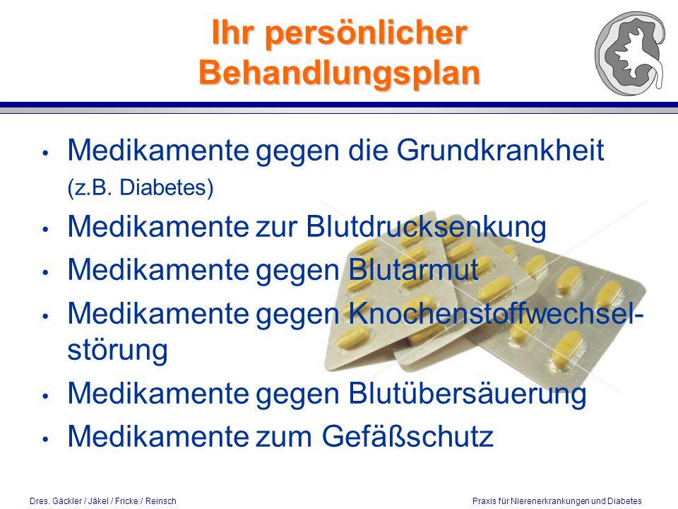 Dres. Gäckler / Jäkel / Fricke / Reinsch Praxis für Nierenerkrankungen und Diabetes Ihr persönlicher Behandlungsplan Medikamente gegen die Grundkrankh