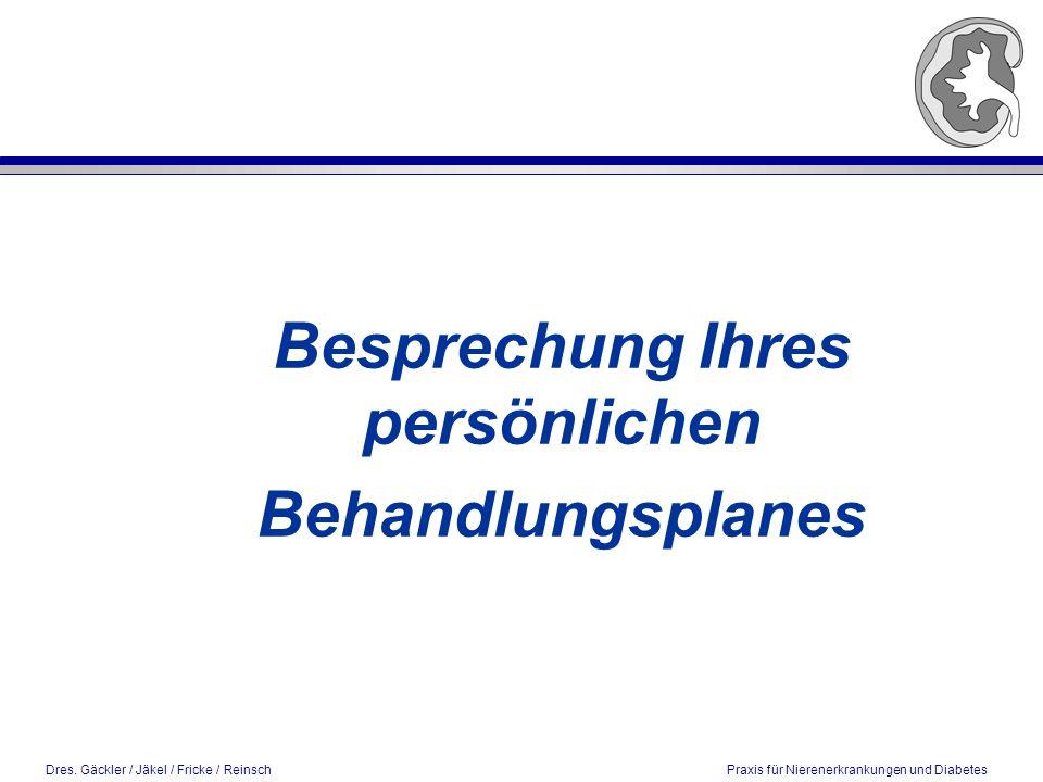 Dres. Gäckler / Jäkel / Fricke / Reinsch Praxis für Nierenerkrankungen und Diabetes Besprechung Ihres persönlichen Behandlungsplanes