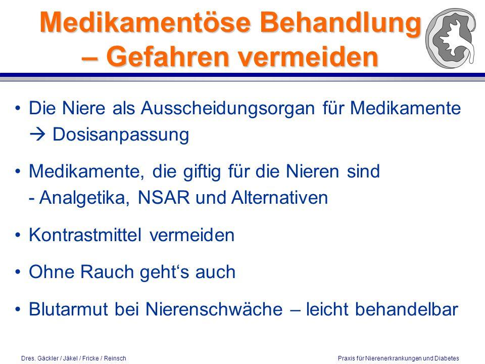 Dres. Gäckler / Jäkel / Fricke / Reinsch Praxis für Nierenerkrankungen und Diabetes Medikamentöse Behandlung – Gefahren vermeiden Die Niere als Aussch