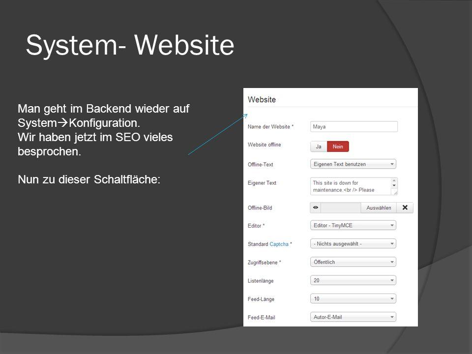 System- Website Man geht im Backend wieder auf System  Konfiguration. Wir haben jetzt im SEO vieles besprochen. Nun zu dieser Schaltfläche: