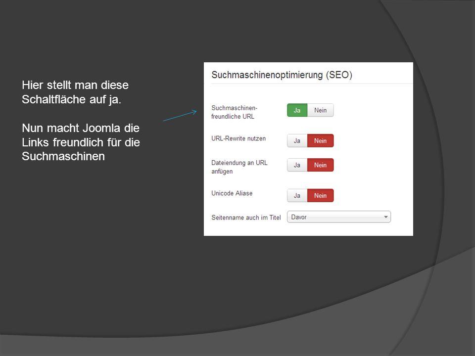 Danach im Joomla Backend bei ReWrite auf JA stellen. Nun können sie das Rewrite Engine nutzen!