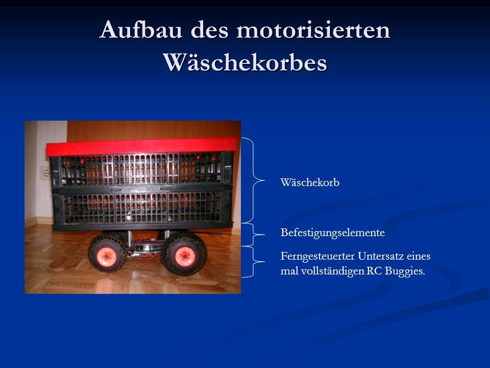 Aufbau des motorisierten Wäschekorbes Wäschekorb Ferngesteuerter Untersatz eines mal vollständigen RC Buggies.