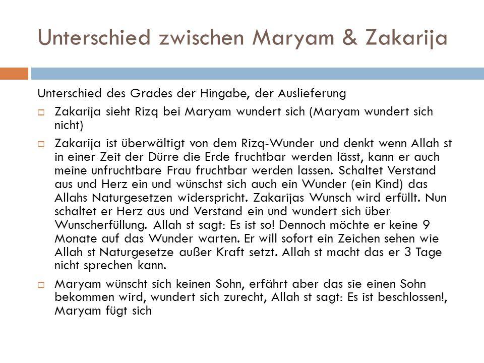 Unterschied zwischen Maryam & Zakarija Unterschied des Grades der Hingabe, der Auslieferung  Zakarija sieht Rizq bei Maryam wundert sich (Maryam wund