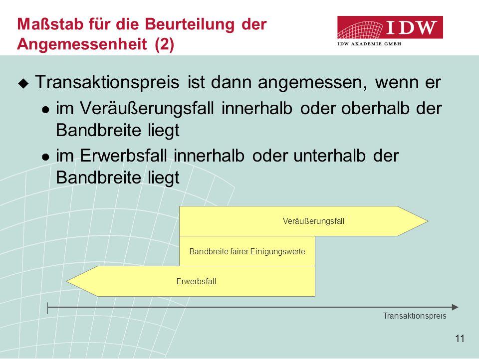 11 Maßstab für die Beurteilung der Angemessenheit (2)  Transaktionspreis ist dann angemessen, wenn er im Veräußerungsfall innerhalb oder oberhalb der