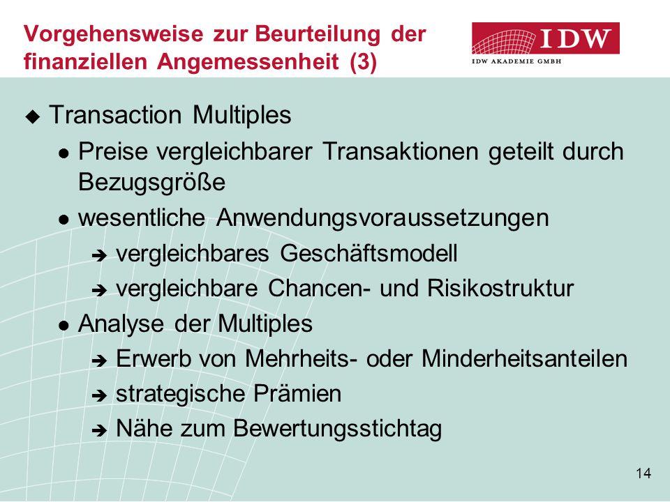 14 Vorgehensweise zur Beurteilung der finanziellen Angemessenheit (3)  Transaction Multiples Preise vergleichbarer Transaktionen geteilt durch Bezugs