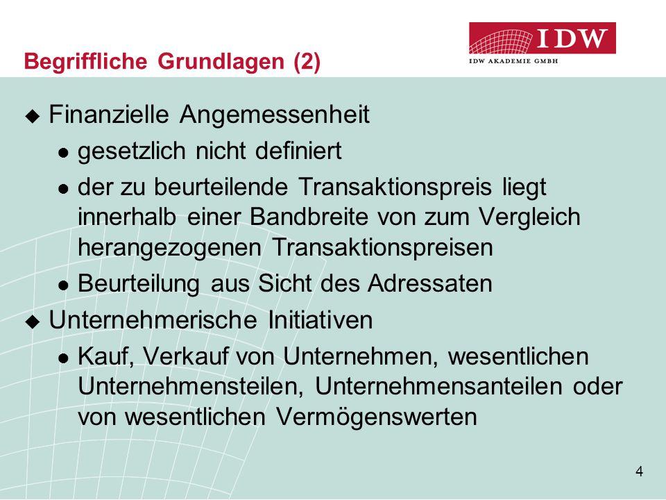 4 Begriffliche Grundlagen (2)  Finanzielle Angemessenheit gesetzlich nicht definiert der zu beurteilende Transaktionspreis liegt innerhalb einer Band