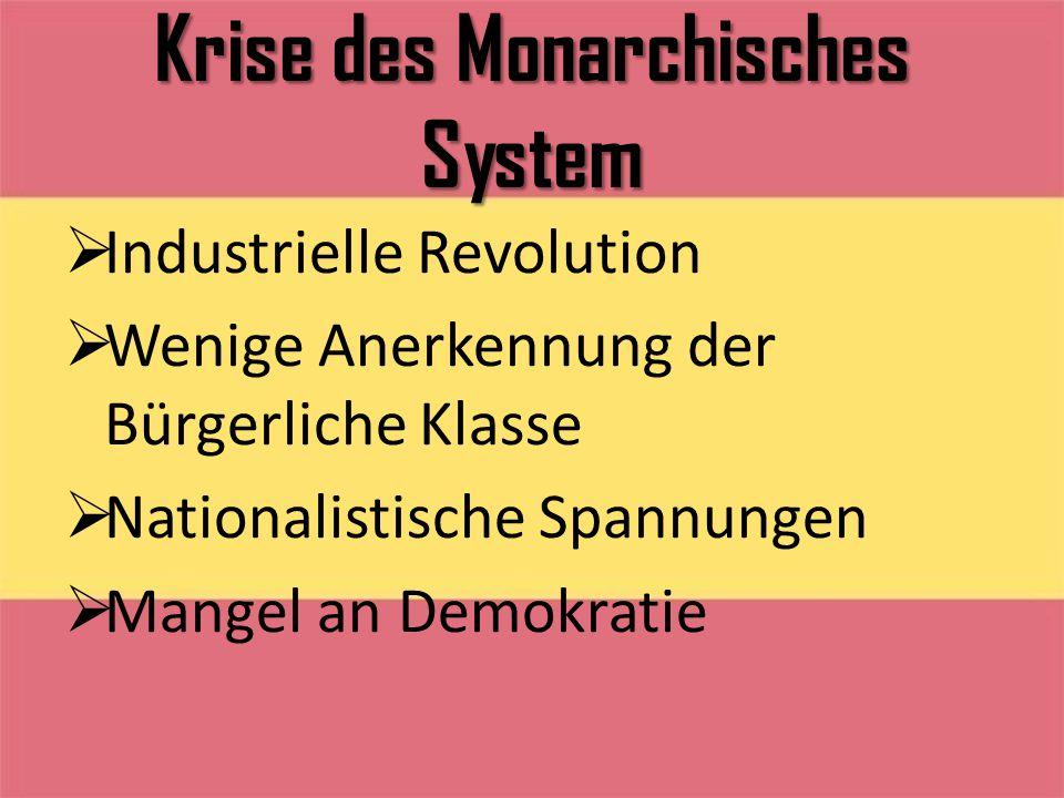 Krise des Monarchisches System  Industrielle Revolution  Wenige Anerkennung der Bürgerliche Klasse  Nationalistische Spannungen  Mangel an Demokra