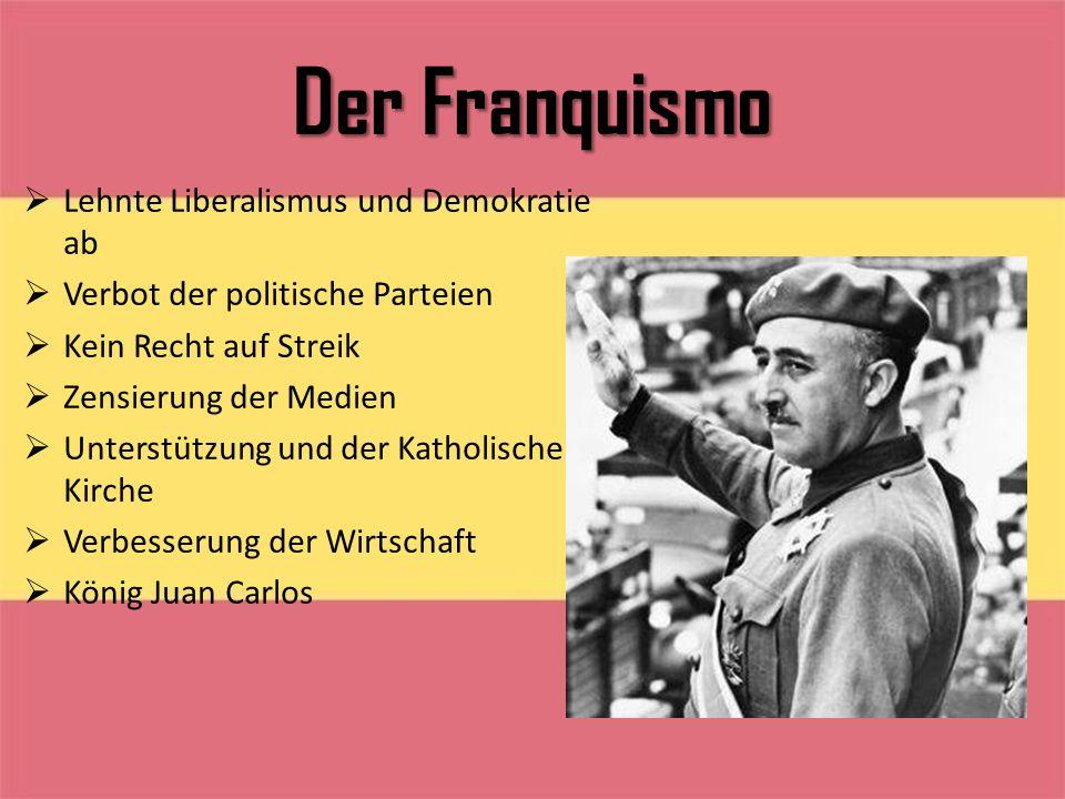 Der Franquismo  Lehnte Liberalismus und Demokratie ab  Verbot der politische Parteien  Kein Recht auf Streik  Zensierung der Medien  Unterstützun