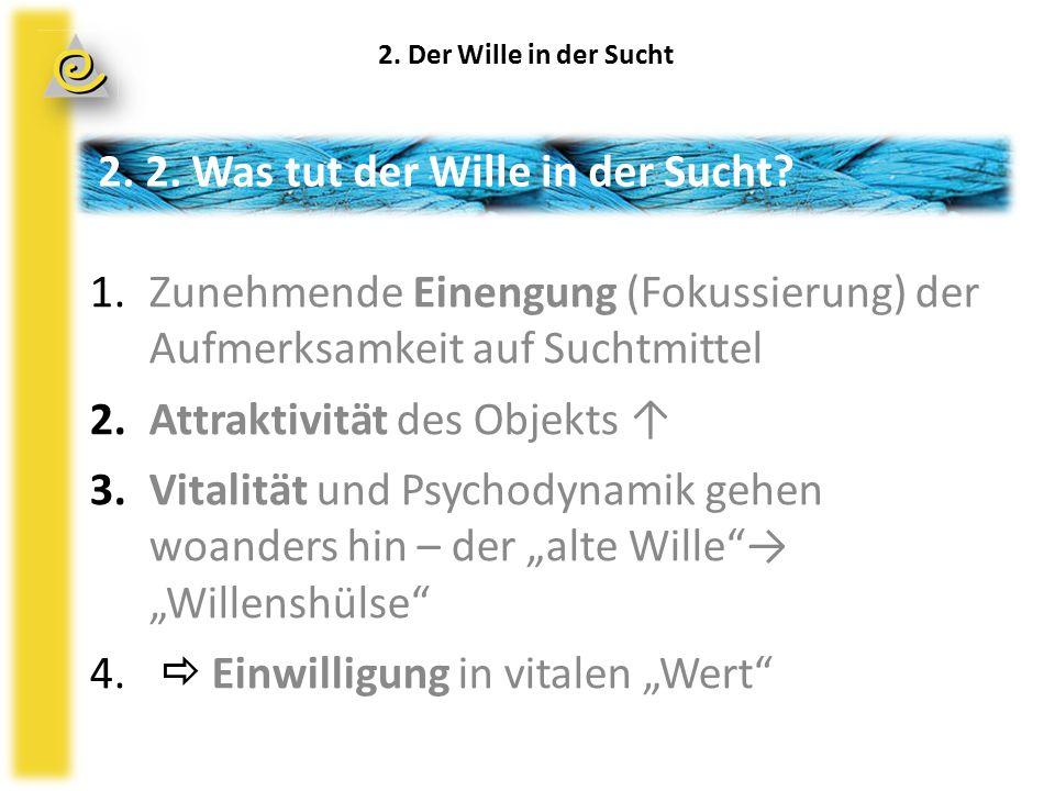 """1.Zunehmende Einengung (Fokussierung) der Aufmerksamkeit auf Suchtmittel 2.Attraktivität des Objekts ↑ 3.Vitalität und Psychodynamik gehen woanders hin – der """"alte Wille → """"Willenshülse 4."""