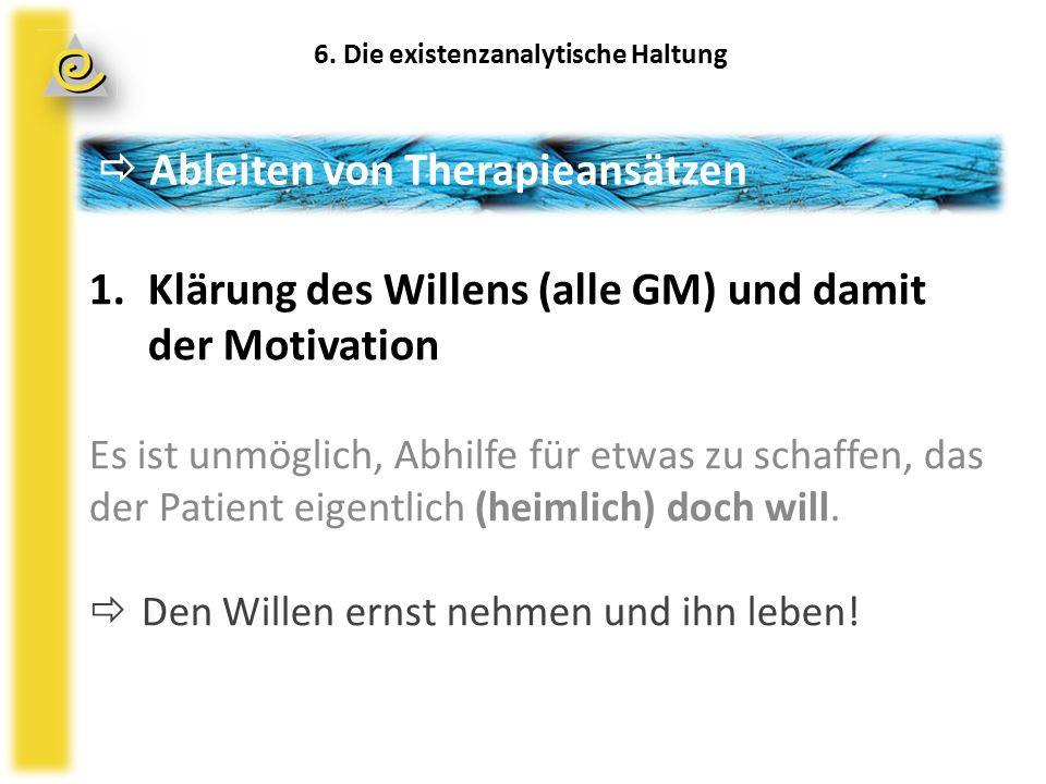  Ableiten von Therapieansätzen 1.Klärung des Willens (alle GM) und damit der Motivation Es ist unmöglich, Abhilfe für etwas zu schaffen, das der Patient eigentlich (heimlich) doch will.