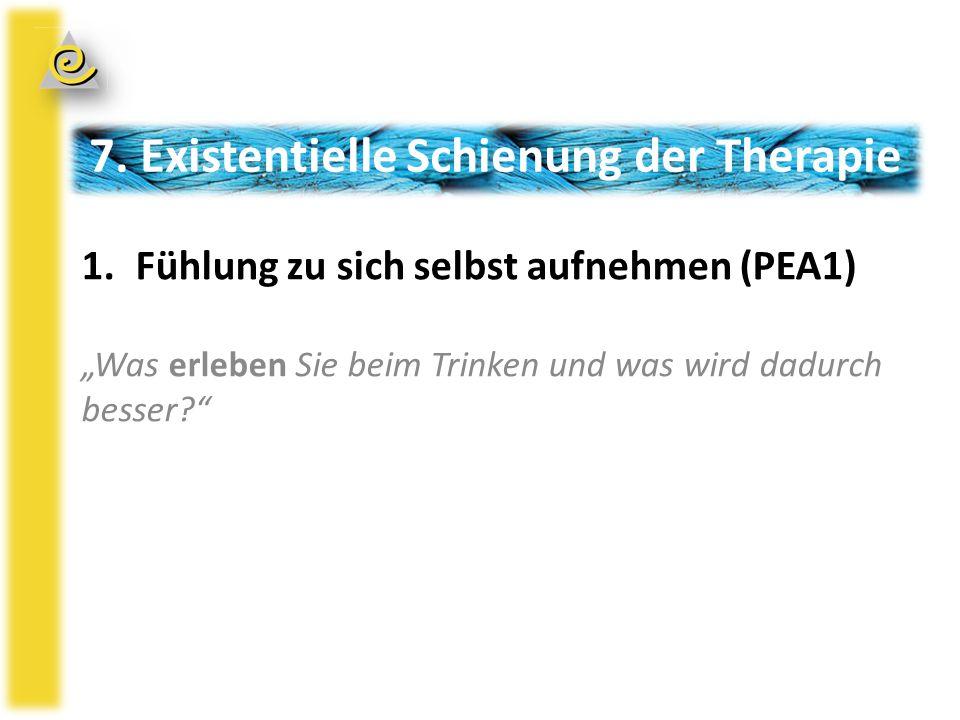 """7. Existentielle Schienung der Therapie 1.Fühlung zu sich selbst aufnehmen (PEA1) """"Was erleben Sie beim Trinken und was wird dadurch besser?"""""""