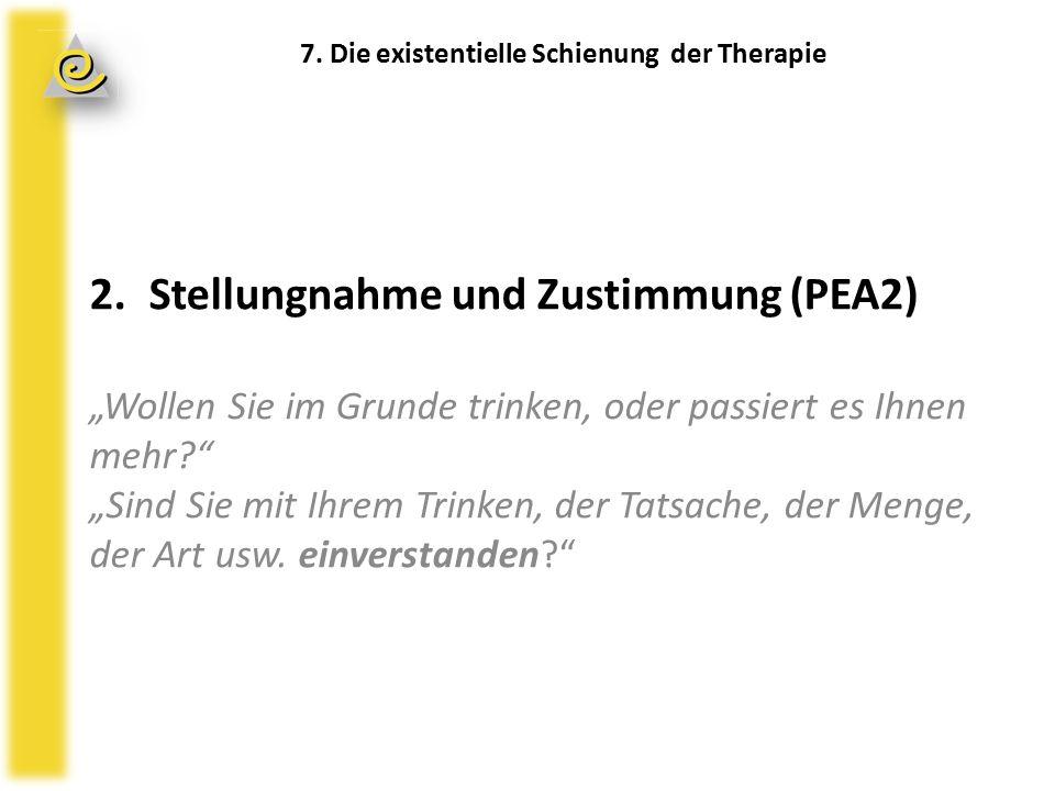 """7. Existentielle Schienung der Therapie 2.Stellungnahme und Zustimmung (PEA2) """"Wollen Sie im Grunde trinken, oder passiert es Ihnen mehr?"""" """"Sind Sie m"""