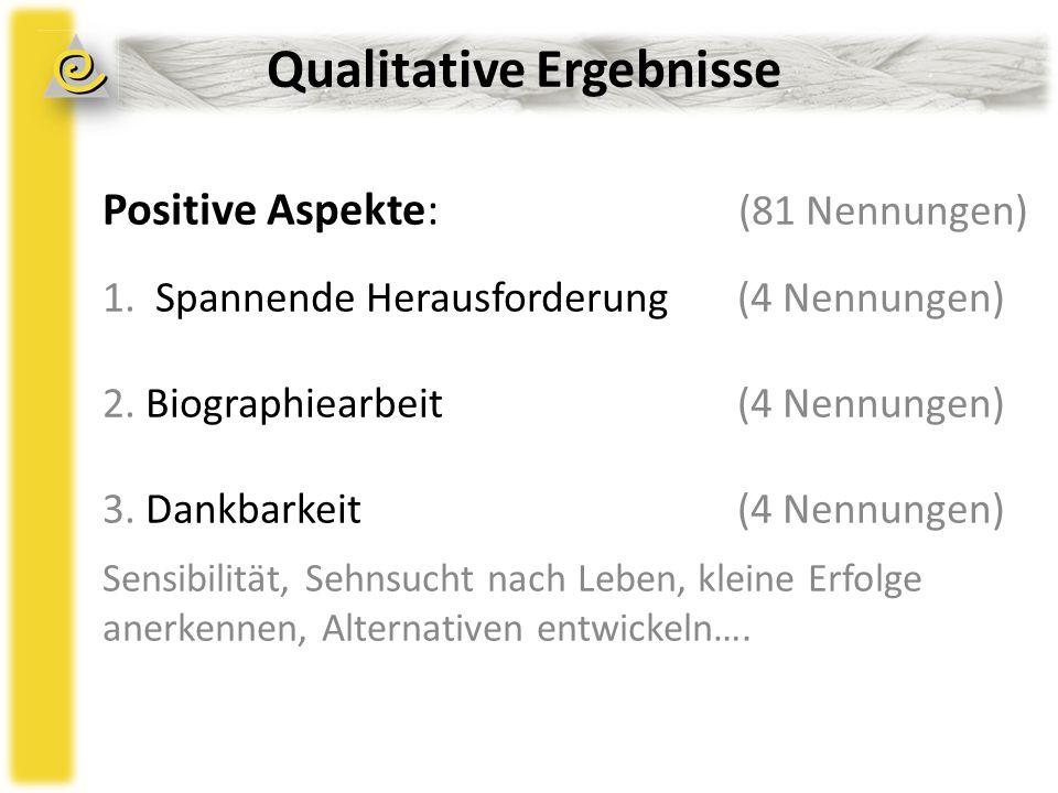 Qualitative Ergebnisse Positive Aspekte: (81 Nennungen) 1.Spannende Herausforderung (4 Nennungen) 2.