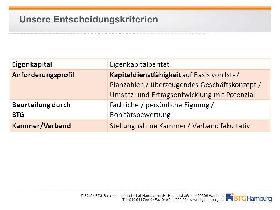 © 2015 BTG Beteiligungsgesellschaft Hamburg mbH Habichtstraße 41 22305 Hamburg Tel. 040 611 700-0 Fax 040 611 700-99 www.btg-hamburg.de Unsere Entsche