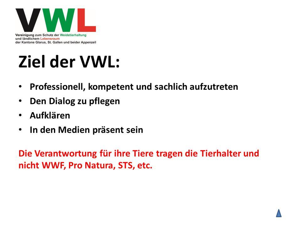 Ziel der VWL: Professionell, kompetent und sachlich aufzutreten Den Dialog zu pflegen Aufklären In den Medien präsent sein Die Verantwortung für ihre Tiere tragen die Tierhalter und nicht WWF, Pro Natura, STS, etc.