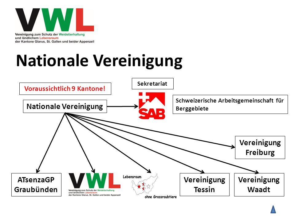 Nationale Vereinigung ATsenzaGP Graubünden Nationale Vereinigung Vereinigung Tessin Vereinigung Waadt Schweizerische Arbeitsgemeinschaft für Berggebiete Sekretariat Vereinigung Freiburg Voraussichtlich 9 Kantone!