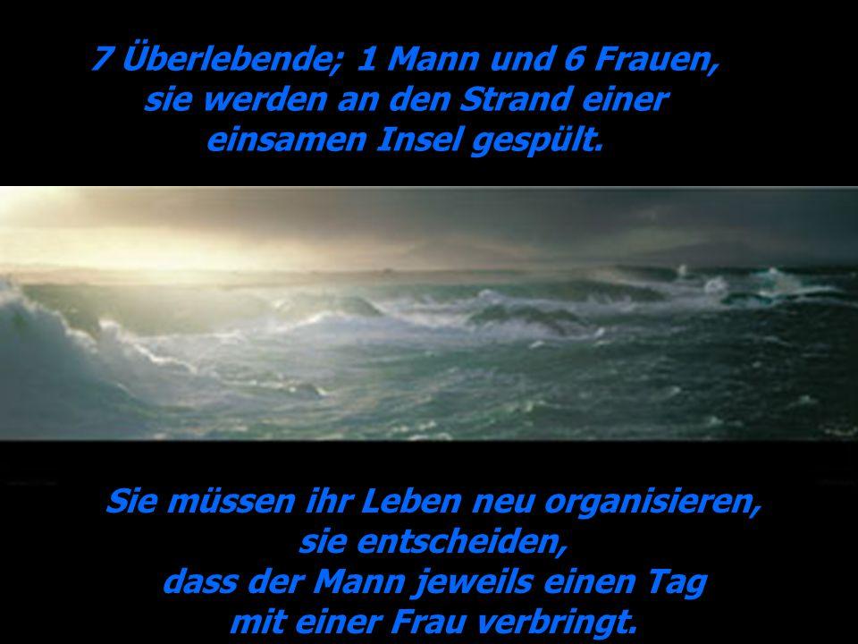 7 Überlebende; 1 Mann und 6 Frauen, sie werden an den Strand einer einsamen Insel gespült. Sie müssen ihr Leben neu organisieren, sie entscheiden, das