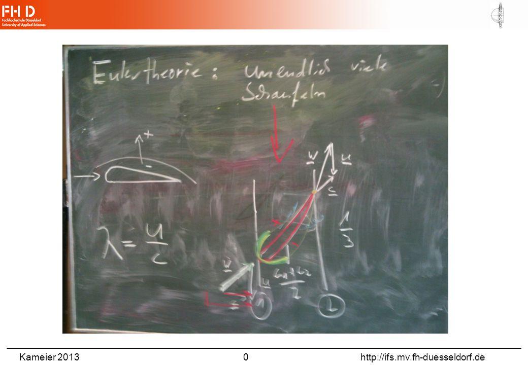 Kameier 2013 11 http://ifs.mv.fh-duesseldorf.de Die vom Rotor erfasste Stromröhre hat gemäß der Kontinuitätsgleichung stromauf des Rotors einen kleineren Querschnitt als stromab des Rotors: Bild aus: Spurk, Aufgaben zur Strömungslehre, 1996.