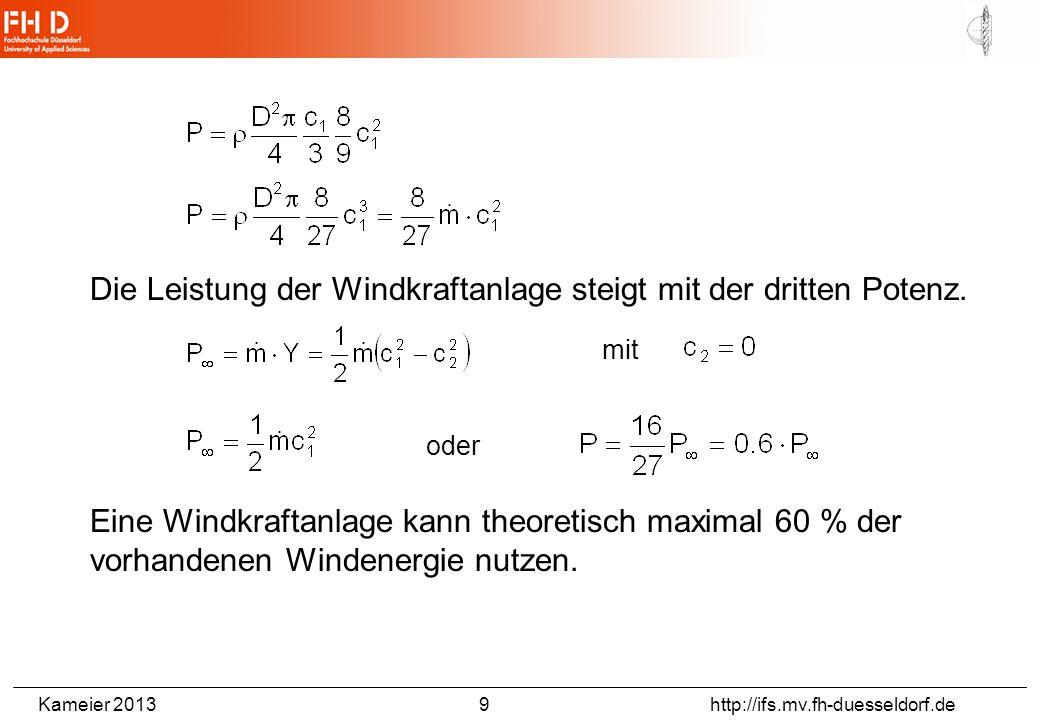 Kameier 2013 9 http://ifs.mv.fh-duesseldorf.de Die Leistung der Windkraftanlage steigt mit der dritten Potenz. mit oder Eine Windkraftanlage kann theo