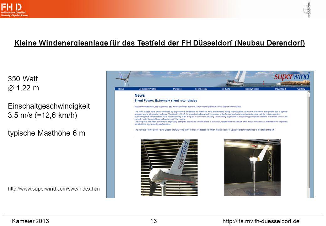 Kameier 2013 13 http://ifs.mv.fh-duesseldorf.de Kleine Windenergieanlage für das Testfeld der FH Düsseldorf (Neubau Derendorf) 350 Watt  1,22 m Einschaltgeschwindigkeit 3,5 m/s (=12,6 km/h) typische Masthöhe 6 m http://www.superwind.com/swe/index.htm