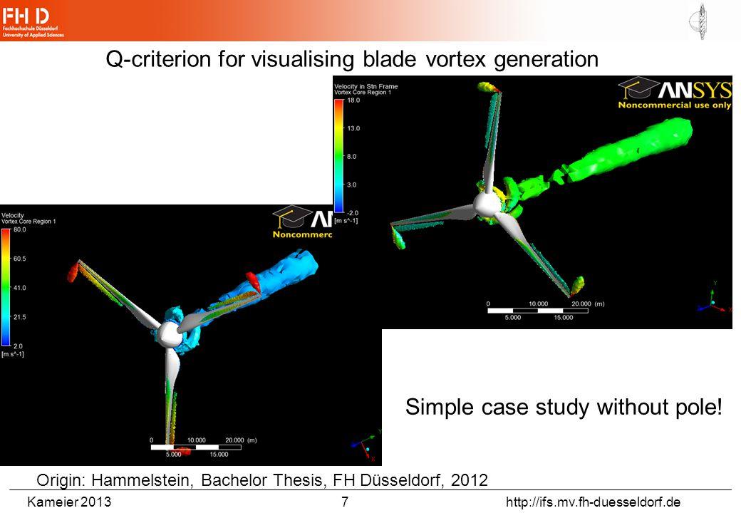 Kameier 2013 7 http://ifs.mv.fh-duesseldorf.de Q-criterion for visualising blade vortex generation Origin: Hammelstein, Bachelor Thesis, FH Düsseldorf, 2012 Simple case study without pole!