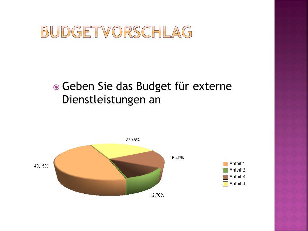 Geben Sie das Budget für externe Dienstleistungen an