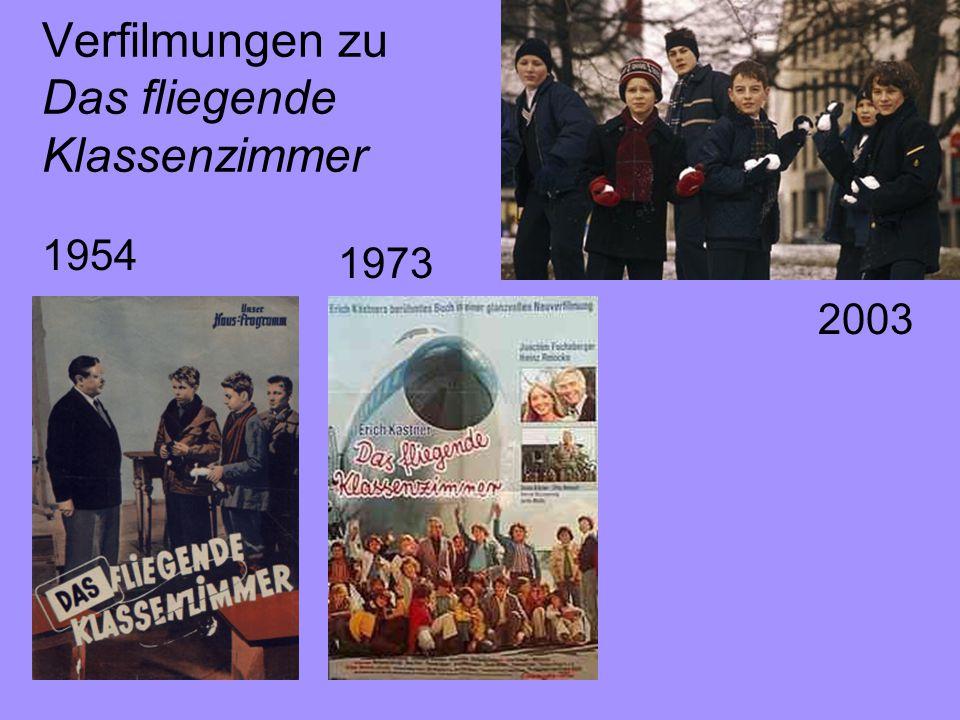 Verfilmungen zu Das fliegende Klassenzimmer 1954 1973 2003