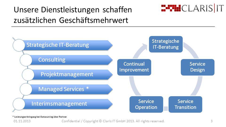 Unsere Dienstleistungen schaffen zusätzlichen Geschäftsmehrwert 01.11.2013Confidential / Copyright © Claris IT GmbH 2013.