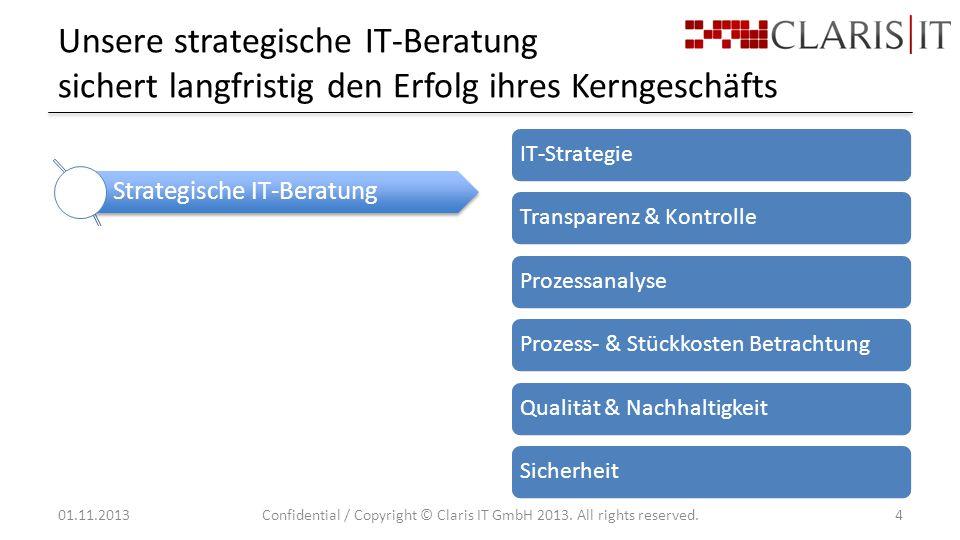 Unsere strategische IT-Beratung sichert langfristig den Erfolg ihres Kerngeschäfts 01.11.2013Confidential / Copyright © Claris IT GmbH 2013.