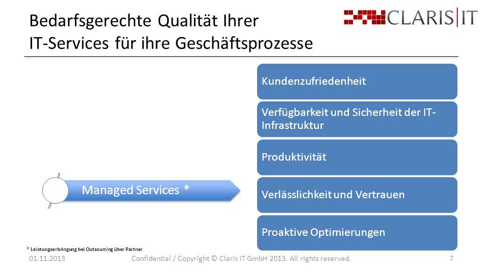 Bedarfsgerechte Qualität Ihrer IT-Services für ihre Geschäftsprozesse 01.11.2013Confidential / Copyright © Claris IT GmbH 2013.