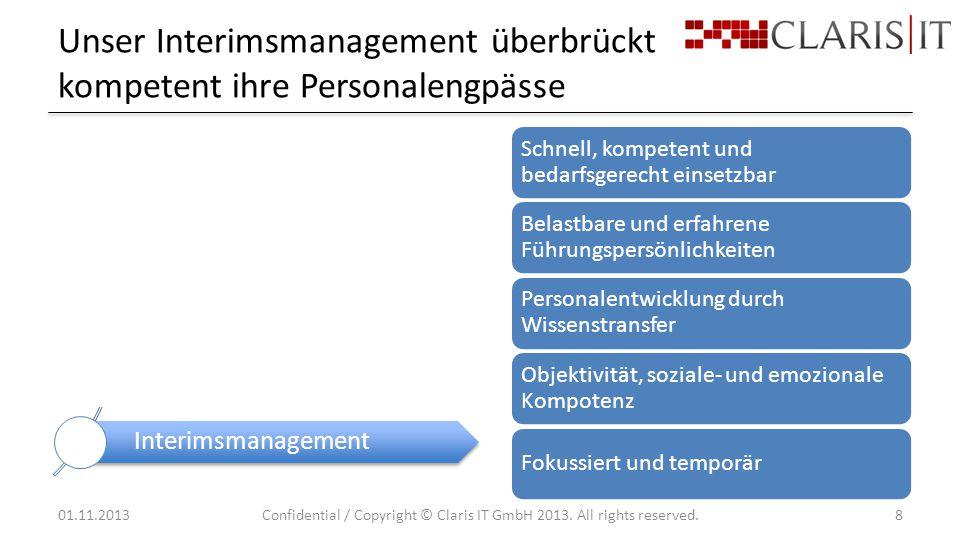 Unser Interimsmanagement überbrückt kompetent ihre Personalengpässe 01.11.2013Confidential / Copyright © Claris IT GmbH 2013.