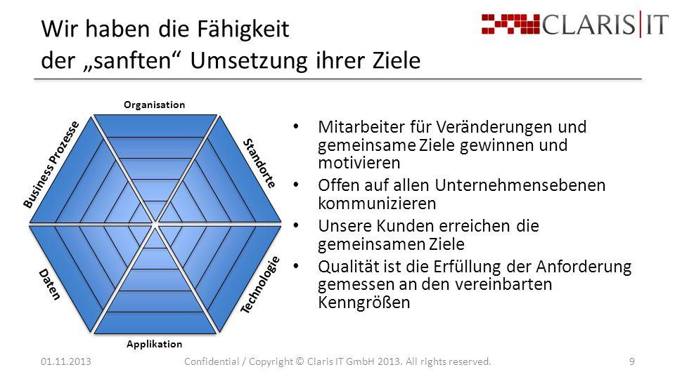 """Wir haben die Fähigkeit der """"sanften Umsetzung ihrer Ziele 01.11.2013Confidential / Copyright © Claris IT GmbH 2013."""