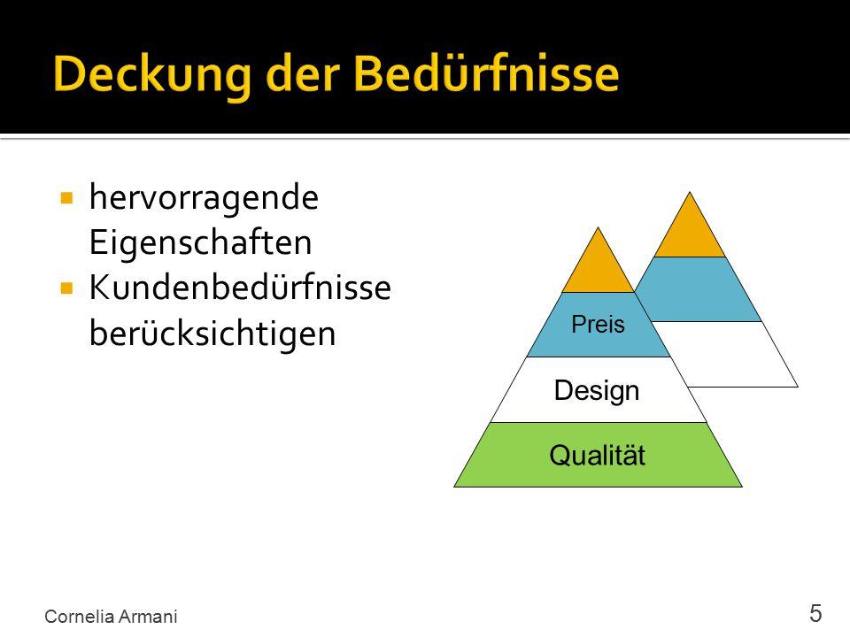  hervorragende Eigenschaften  Kundenbedürfnisse berücksichtigen Cornelia Armani 5 Qualität Design Preis