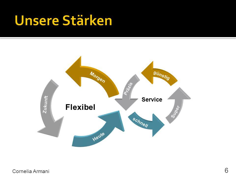 Cornelia Armani 6 Service günstig Präzis schnell Super Flexibel Morgen Zukunft Heute